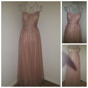 Adrianna Papell Nude Chiffon Evening Gown